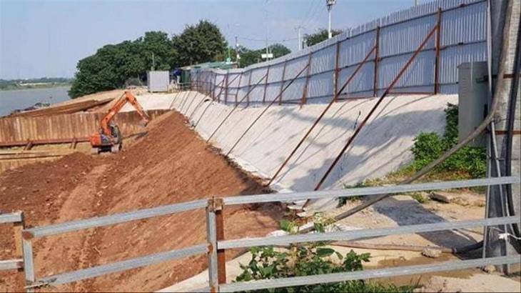 Hố móng trạm bơm nước thô thuộc Dự án xây dựng nhà máy nước mặt sông Hồng