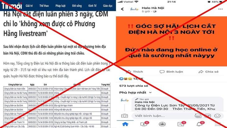 Ngày 28/5 trên một số trang điện tử, trang mạng xã hội xuất hiện nhiều thông tin về lịch cắt điện luân phiên tại Hà Nội.