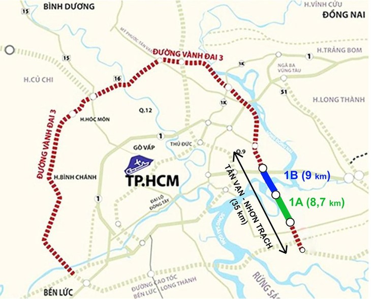 Dự án 1A và 1B, thuộc đoạn Tân Vạn - Nhơn Trạch tuyến Vành đai 3 TP HCM. Đồ họa: Thanh Huyền.
