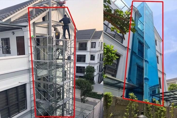 Một công trình vi phạm trong Khu đô thị Gamuda. Từ khi thi công (bên trái) người dân đã phản ánh nhưng đến nay thang được dựng lên (bên phải) vẫn chưa xử lý xong. Ảnh CN.