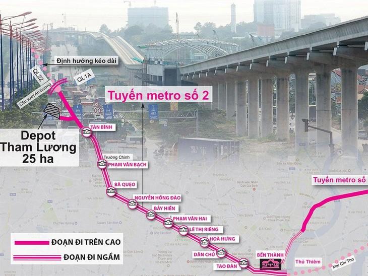 Sơ đồ định tuyến Thông tin Tuyến Metro số 2: Bến Thành – Tham Lương
