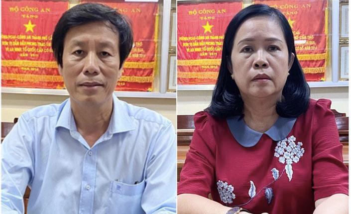 Ông Cao Minh Chu bà Bùi Thị Lệ Phi tại cơ quan công an. Ảnh: Bộ Công an