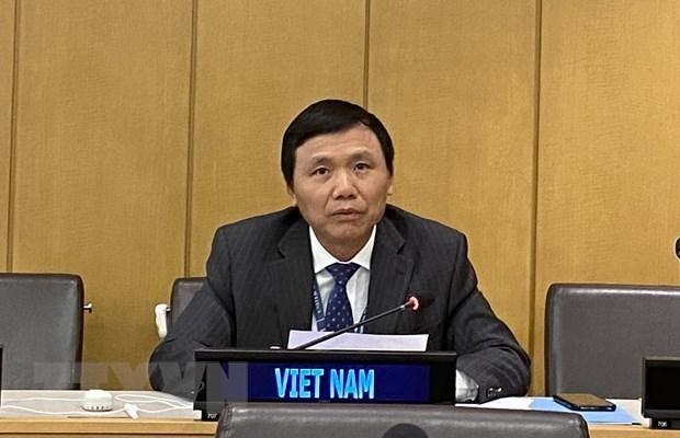 Đại sứ Đặng Đình Quý, Trưởng phái đoàn đại diện Việt Nam tại Liên hợp quốc, phát biểu tại hội nghị. Ảnh: TTXVN