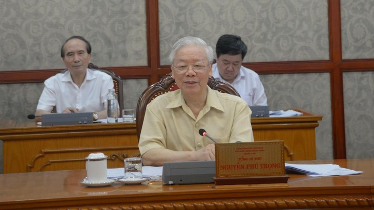 Tổng Bí thư Nguyễn Phú Trọng phát biểu kết luận cuộc họp - Ảnh: VOV