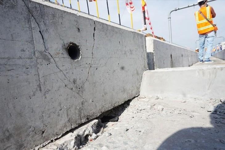 Bê tông bên dưới đường ray bị nứt sau sự cố gối cao su trên dầm cầu cạn thuộc Gói thầu CP2 bị rơi cuối tháng 10/2020