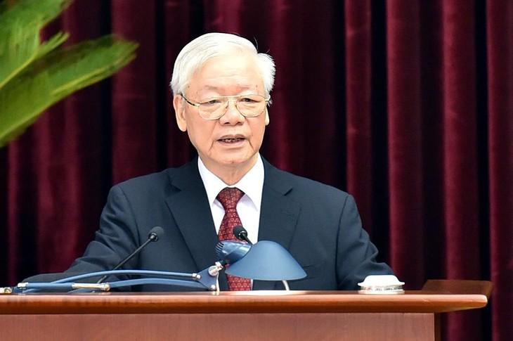 Tổng Bí thư Nguyễn Phú Trọng phát biểu khai mạc Hội nghị Trung ương 3. Ảnh: VGP