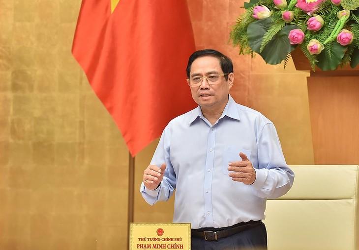 Thủ tướng Phạm Minh Chính: Chăm lo, bảo vệ sức khỏe, tính mạng của người dân, đặt sức khỏe, tính mạng của nhân dân lên trên hết, trước hết. Ảnh VGP