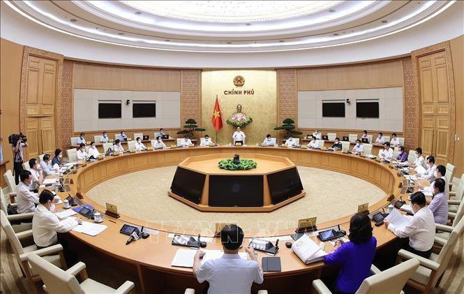 Quang cảnh phiên họp Chính phủ thường kỳ tháng 6/2021. Ảnh: TTXVN