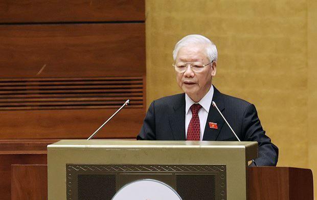 Tổng Bí thư Nguyễn Phú Trọng phát biểu tại phiên khai mạc kỳ họp thứ nhất, Quốc hội khóa XV. Ảnh: TTXVN
