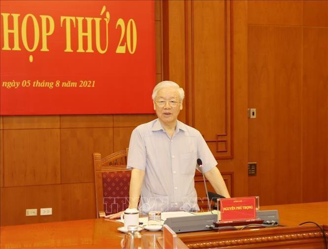 Tổng Bí thư Nguyễn Phú Trọng phát biểu khai mạc Phiên họp thứ 20. Ảnh: TTXVN