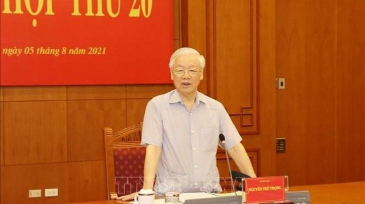 Tổng Bí thư Nguyễn Phú Trọng phát biểu chỉ đạo tại Phiên họp thứ 20 của Ban Chỉ đạo. Ảnh: TTXVN