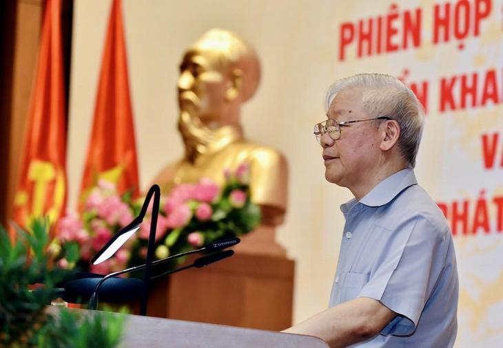 Tổng Bí thư Nguyễn Phú Trọng phát biểu tại phiên họp của Chính phủ sáng 11/8
