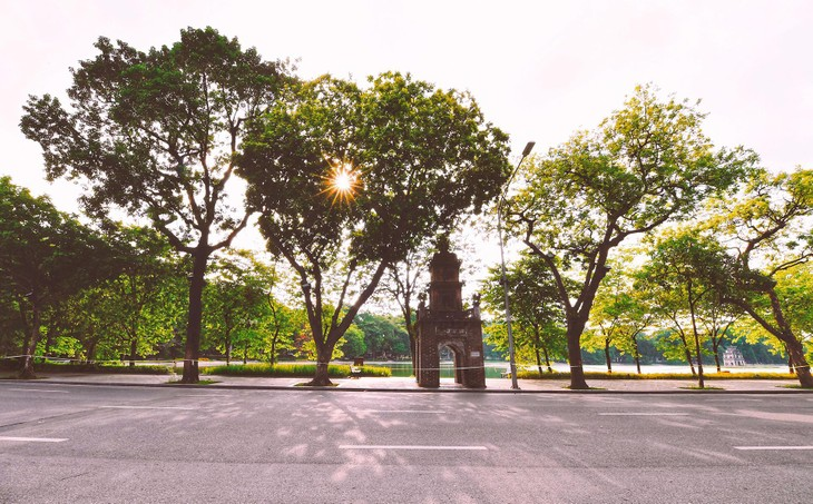 Phố Đinh Tiên Hoàng bên hồ Gươm, đoạn tháp Hoà Phong, trong buổi chiều 20/8. Nắng vàng rực rỡ nhưng vắng bóng người qua lại