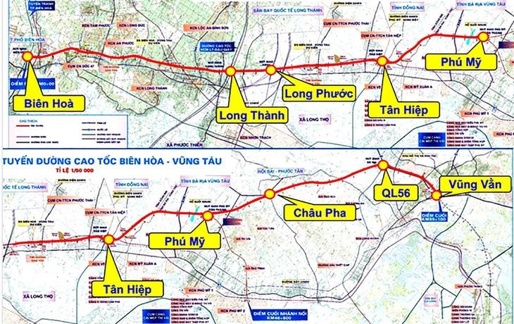 Sơ đồ hướng tuyến cao tốc Biên Hòa - Vũng Tàu - Ảnh: Báo BRVT
