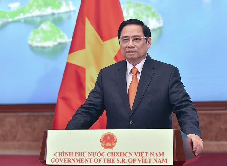 Thủ tướng Phạm Minh Chính nhấn mạnh, Việt Nam sẵn sàng cùng các nước xây dựng khung pháp lý phù hợp, giúp kinh tế số phát triển mạnh mẽ, đóng góp và hài hòa với lợi ích chung của toàn xã hội. - Ảnh: VGP