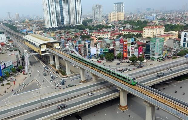 Đoàn tàu của dự án đường sắt đô thị Cát Linh-Hà Đông. Ảnh: TTXVN