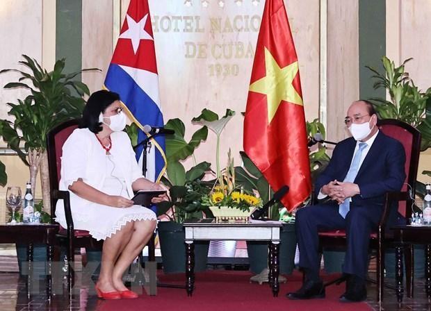Chủ tịch nước Nguyễn Xuân Phúc tiếp Phó Chủ tịch thứ nhất Viện Cuba hữu nghị với các dân tộc (ICAP) Noemi Rabaza Fernandesz. Ảnh: TTXVN