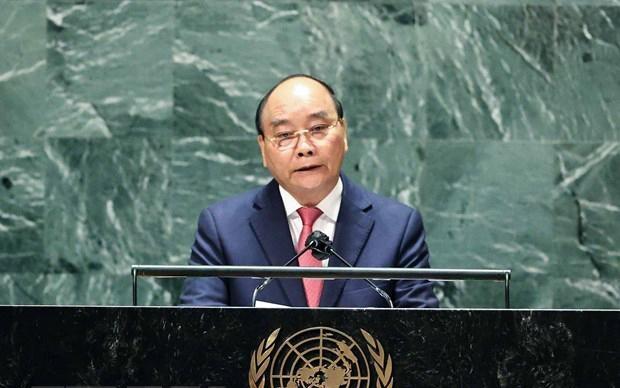 Chủ tịch nước Nguyễn Xuân Phúc phát biểu tại Phiên thảo luận Cấp cao Đại hội đồng Đại hội đồng Liên hợp quốc lần thứ 76. Ảnh: TTXVN