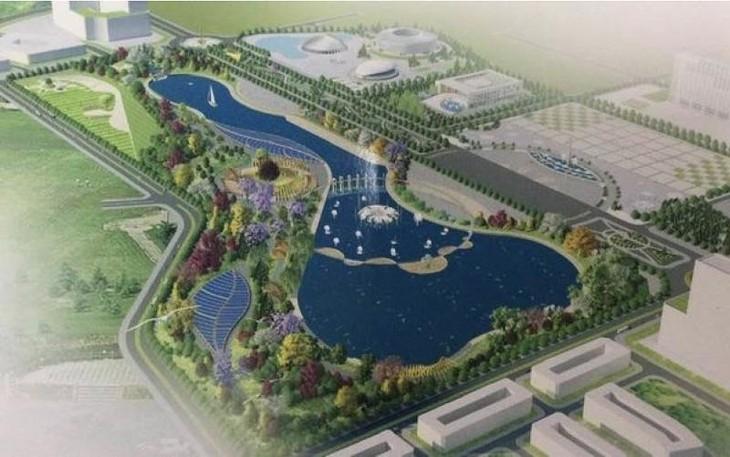 Phối cảnh thiết kế kiến trúc công trình xây dựng quần thể văn hóa - thể thao - công viên cây xanh thị xã Phổ Yên. Ảnh Internet