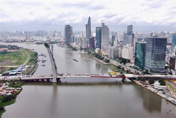 Cầu chính dự án cầu Thủ Thiêm 2 hợp long vào dịp Quốc khánh, ngày 2/9/2021. Ảnh: TTXVN