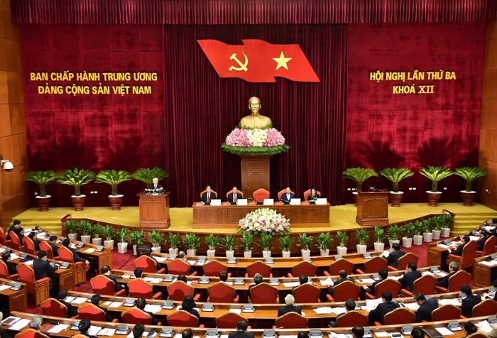 Hội nghị lần thứ ba Ban Chấp hành Trung ương Đảng khóa XII diễn ra từ ngày 4/7 và dự kiến kết thúc vào ngày 9/7. Ảnh: Đoàn Nhật Bắc