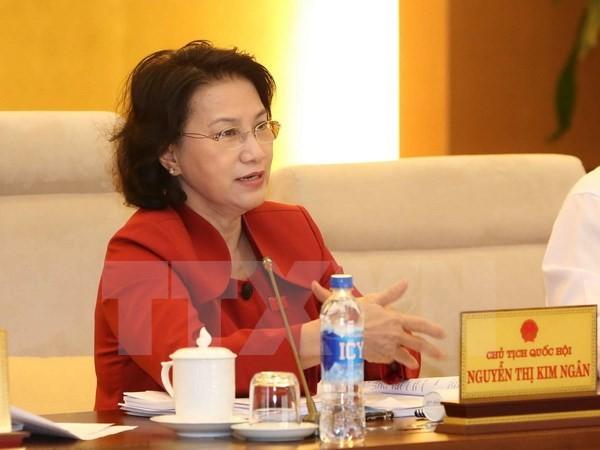 Chủ tịch Quốc hội Nguyễn Thị Kim Ngân phát biểu ý kiến. (Ảnh: Phương Hoa/TTXVN)