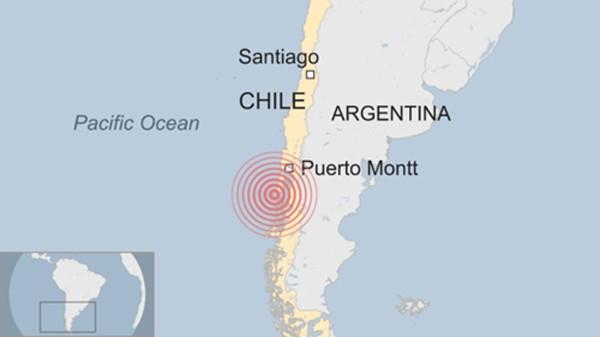 Tâm chấn trận động đất ở Chile. Đồ họa:BBC