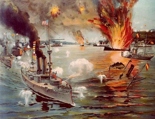 Trận giao chiến giữa hải quân Mỹ và Tây Ban Nha. Ảnh:National Interest.