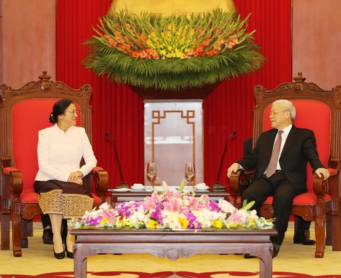 Tổng Bí thư Nguyễn Phú Trọng đánh giá cao ý nghĩa và tầm quan trọng chuyến thăm Việt Nam của Chủ tịch Quốc hội Lào Pany Yathotou. Ảnh: Trí Dũng