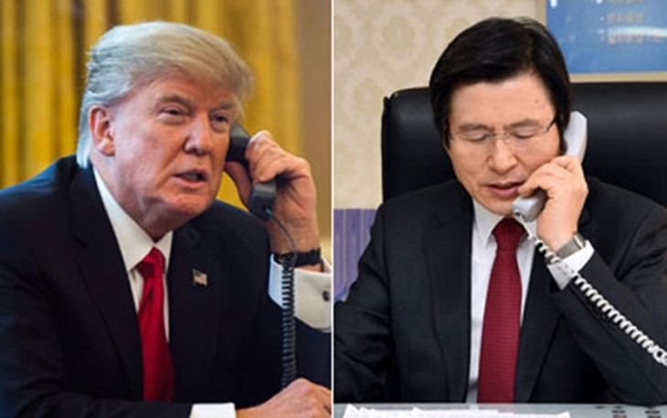 Tổng thống Mỹ Donald Trump và Tổng thống lâm thời kiêm Thủ tướng Hàn Quốc Hwang Kyo-ahn. Ảnh:Yonhap
