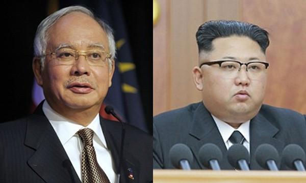 Thủ tướng Malaysia Najib Razak và lãnh đạo Triều Tiên Kim Jong-un. Ảnh:Reuters