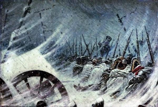 Đội quân của Napoleon co ro trong giá lạnh mùa đông nước Nga. Ảnh:War History