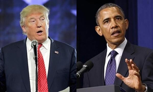 Tổng thống Mỹ Donald Trump (trái) và người tiền nhiệm Barack Obama. Ảnh:Reuters.