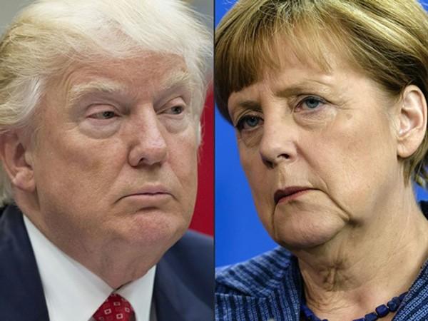 Thủ tướng Đức Angela Merkel và Tổng thống Mỹ Donald Trump. Ảnh:LA Times