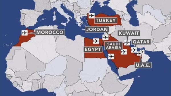 Lệnh cấm với thiết bị điện tử nhằm vào các chuyến bay thẳng tới Mỹ từ 8 nước ở Trung Đông và Bắc Phi. Đồ hoạ:CBSNews
