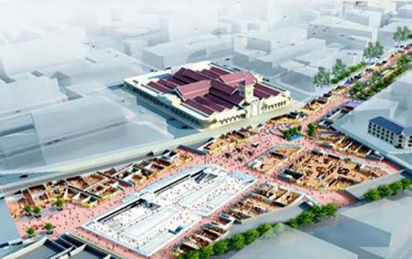 Không gian ngầm trước chợ Bến Thành sau khi tuyến metro số 1 hoàn thành.