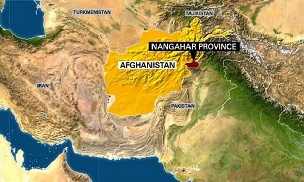 Vị trí tỉnh Nangarhar, miền đông Afghanistan, nơi bom GBU-43/B được thả xuống. Đồ họa:CNN