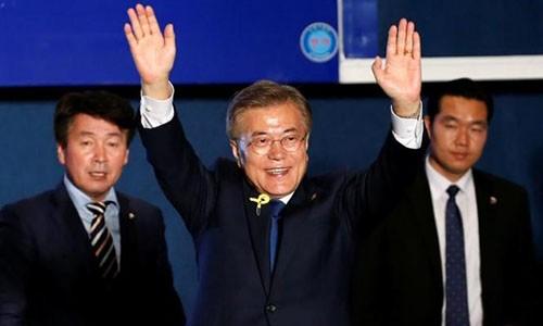 Tổng thống đắc cử Hàn Quốc Moon Jae-in. Ảnh:Reuters