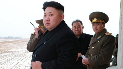 Lãnh đạo Triều Tiên Kim Jong-un và các quan chức. Ảnh: KCNA