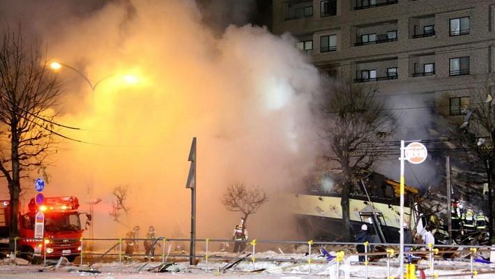 Hiện trường vụ nổ nhà hàng ở Sapporo, Nhật Bản ngày 16/12 - Ảnh: Yomiuri Shinbun/Bloomberg.