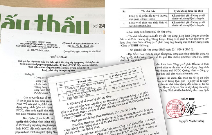 2 văn bản cùng số, cùng ngày do Ban QLDA đầu tư xây dựng các công trình dân dụng và công nghiệp tỉnh Quảng Ninh cung cấp, trong đó nêu lý do loại nhà thầu khác nhau. Ảnh: Mai Quân