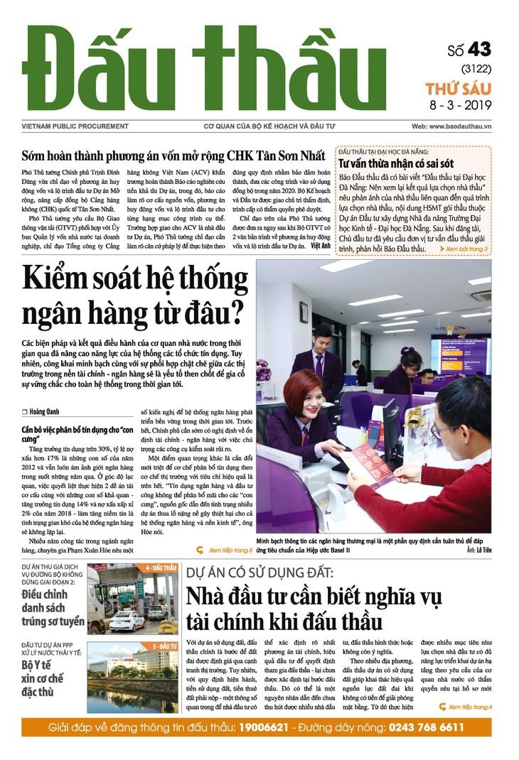 Báo Đấu thầu số 43 ra ngày 8/3/2019