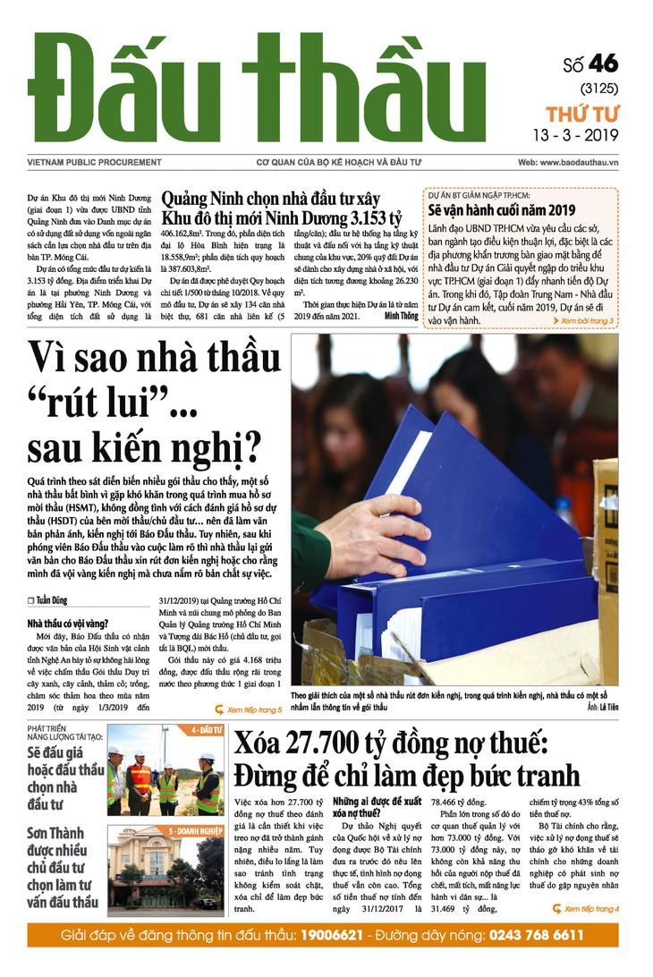 Báo Đấu thầu số 46 ra ngày 13/3/2019