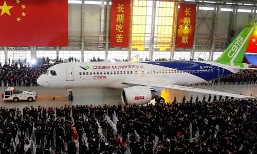 Máy bay C919 của Comac tại Thượng Hải (Trung Quốc). Ảnh:China Daily