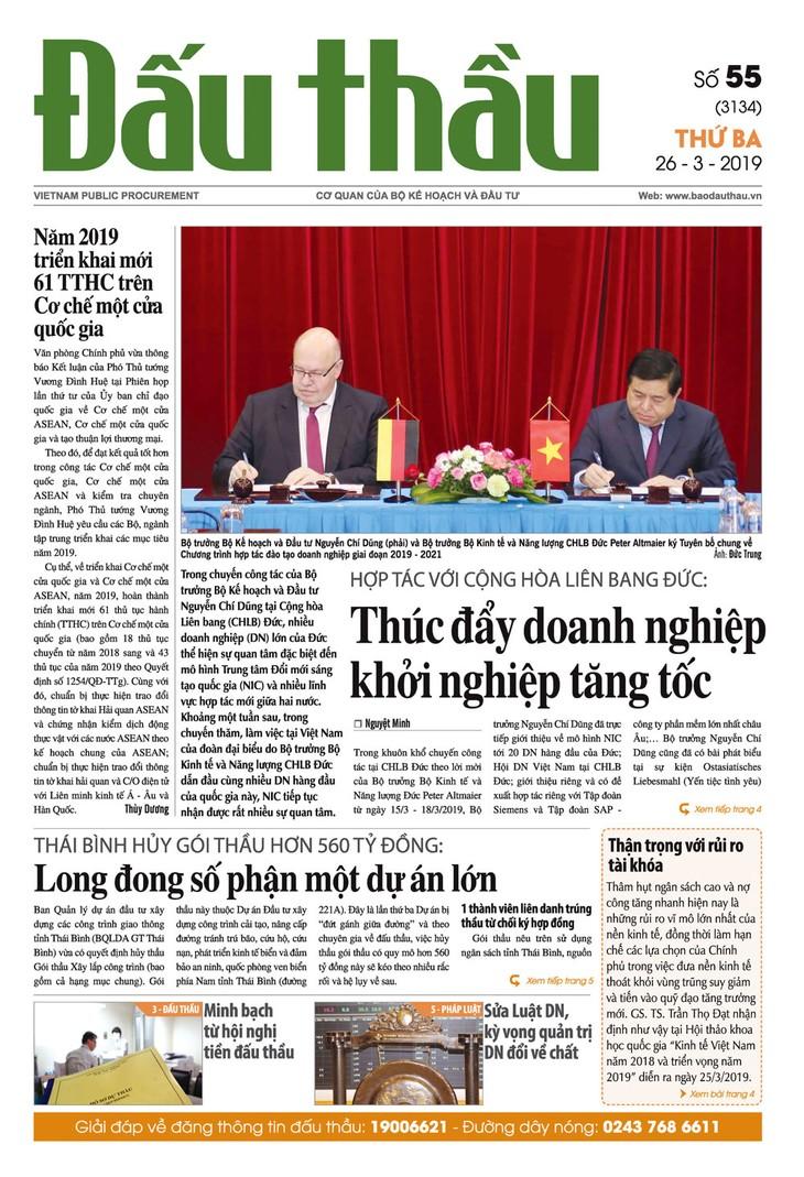 Báo Đấu thầu số 55 ra ngày 26/3/2019