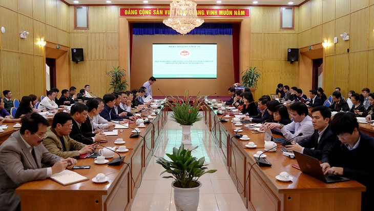 Cuộc họp của Bộ Kế hoạch và Đầu tư về triển khai ứng dụng văn bản điện tử. Ảnh: Minh Trang
