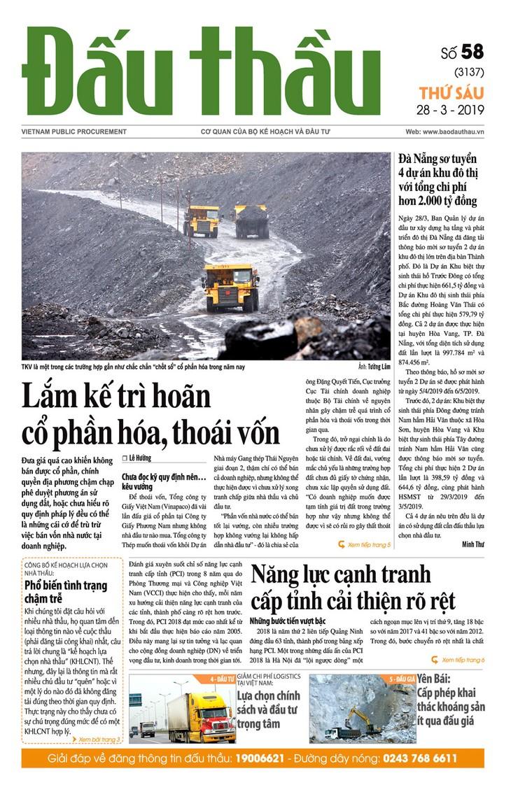 Báo Đấu thầu số 58 ra ngày 29/3/2019