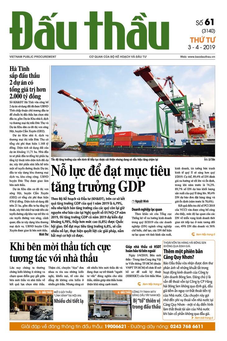 Báo Đấu thầu số 61 ra ngày 3/4/2019
