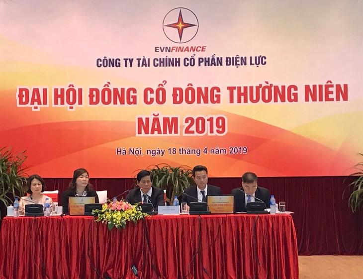 Các cổ đông tham dự đại hội đã thông qua việc trả cổ tức năm 2017 và 2018 bằng cổ phiếu. Ảnh: Hoàng Việt