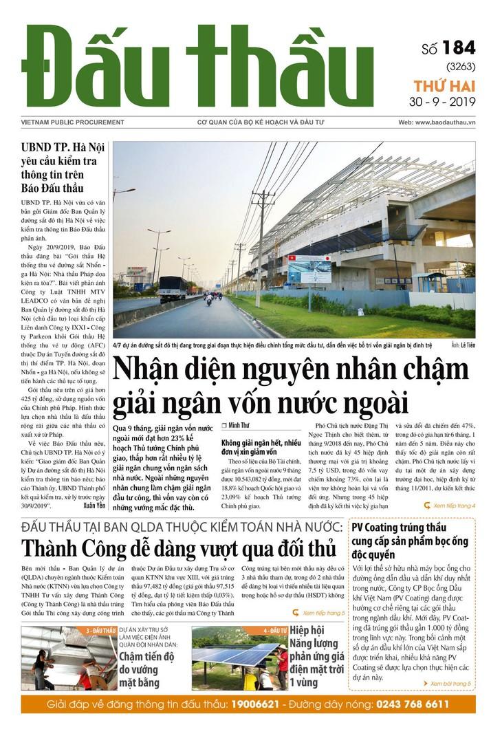 Báo Đấu thầu số 184 ra ngày 30/9/2019